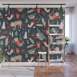 Slothy Holidays Wall Mural