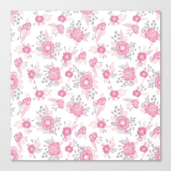 Pink pastel florals cute nursery baby girl decor floral botanical bouquet blooms Canvas Print