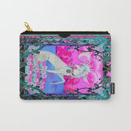 White Unicorn Moon & Pink Spun Sugar Sky Abstract Carry-All Pouch