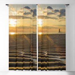 Sandbars and Sunset Coastal Nature / Landscape Photograph Blackout Curtain