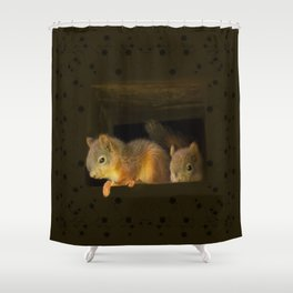 Young squirrels peering out of a nest #decor #buyart #society6 Shower Curtain