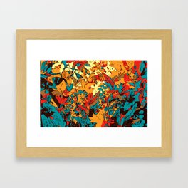 Metallic Forest Retro Electric Red Framed Art Print