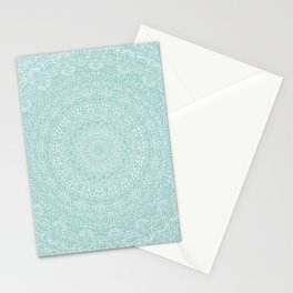The Most Detailed Intricate Mandala (Blue Green Gray) Maze Zentangle Hand Drawn Popular Trending Stationery Cards