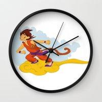 dragonball Wall Clocks featuring DragonBall: Goku and Nimbus by Michelle Rakar