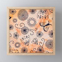 Orange Watercolor Ink Pattern Framed Mini Art Print