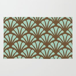 Brown and Mint Green Deco Fan Rug