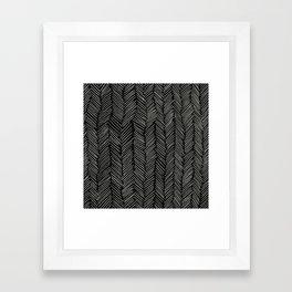 Herringbone Cream on Black Framed Art Print