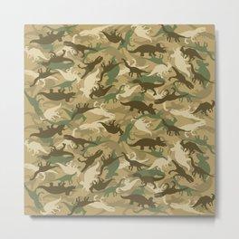 Camouflage Dinosaur Print Olive Green Khaki Tan Metal Print