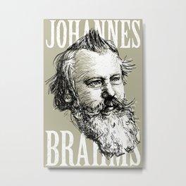 Johannes Brahms BW Metal Print