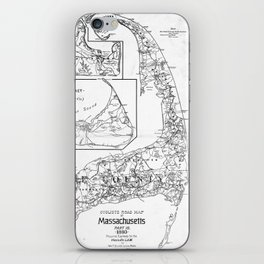 Vintage Cape Cod Cyclist Map (1893) BW iPhone Skin