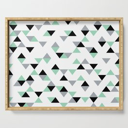 Triangles Mint Grey Serving Tray