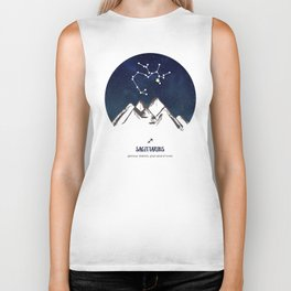 Astrology Sagittarius Zodiac Horoscope Constellation Star Sign Watercolor Poster Wall Art Biker Tank