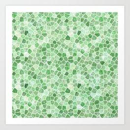 Pale Emerald and Pistachio Cobbled Patchwork Art Print