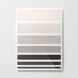 Grey Minimalist Watercolor Mid Century Staggered Stripes Rothko Color Block Geometric Art Metal Print