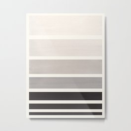 Grey Minimalist Watercolor Mid Century Staggered Stripes Rothko Color Block Geometric Art Metal Print