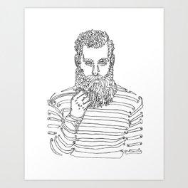 Beard Man with a Pipe Art Print
