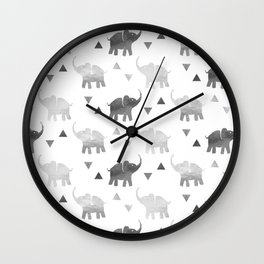 Elephants and Triangles - Silver Wall Clock