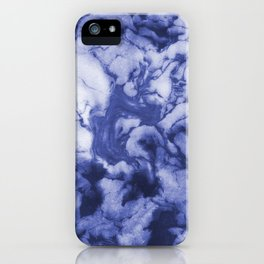 Asahi - spilled ink indigo blue water waves ocean topography map maps painting marble swirl blue iPhone Case