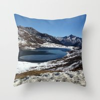 the mountains are calling Throw Pillows featuring Mountains are calling by Adeela Abdul Razak