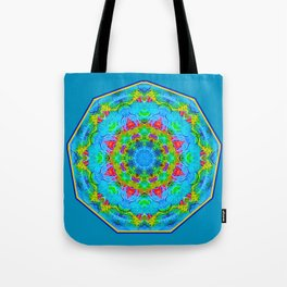 Red Flower Blue Mandala Tote Bag
