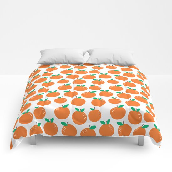 Oranges - sweet fruit summer fresh vegan vegetarian juicing cleanse art print home office decor Comforters