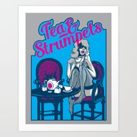 dumb and dumber Art Prints featuring Tea & Strumpets - Dumb and Dumber by Panda McFan