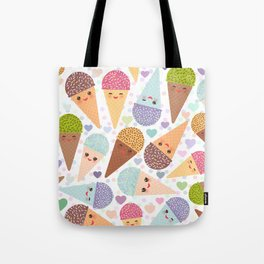 Kawaii funny Ice cream waffle cone, with pink cheeks and winking eyes Tote Bag