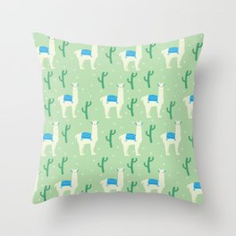 Llamas and llamas Throw Pillow