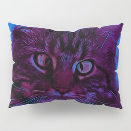squinting maine coon cat vector art night from day Pillow Sham