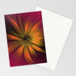 fractal elegance - red and orange Stationery Cards