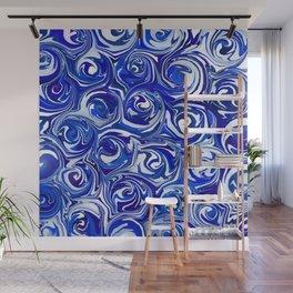 China Blue Paint Swirls Wall Mural