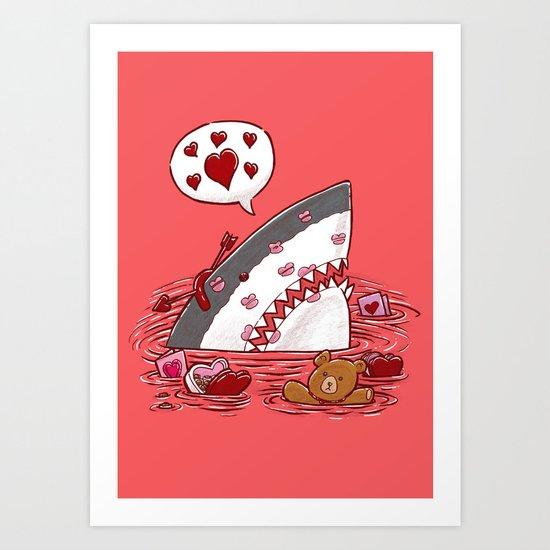 The Valentine's Day Shark Art Print