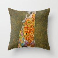 gustav klimt Throw Pillows featuring Gustav Klimt - Hope, II by TilenHrovatic