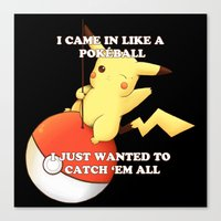 pokeball Canvas Prints featuring Pokeball by Mie Kristensen