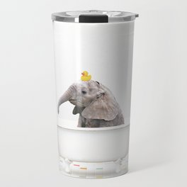 Baby Elephant with Rubber Ducky in Vintage Bathtub Travel Mug