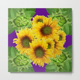Moss Green-Purple Yellow Sunflowers-Buds Art Metal Print
