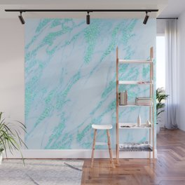 Teal Marble - Shimmery Glittery Turquoise Blue Sea Green Marble Metallic Wall Mural