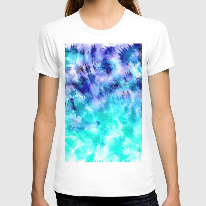 modern boho blue turquoise watercolor mermaid tie dye pattern T-shirt