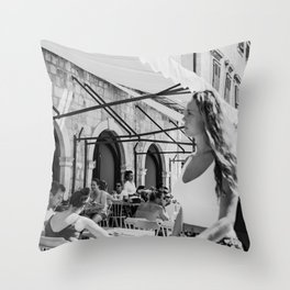 A girl new in town street photography black and white street scene wall art Throw Pillow