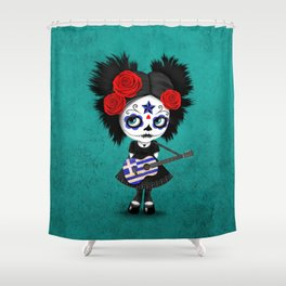 Day of the Dead Girl Playing Greek Flag Guitar Shower Curtain