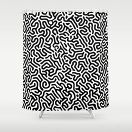Black and White Organic MAZE Pattern Shower Curtain