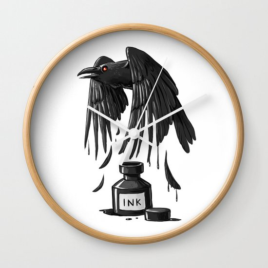 Ink Raven Wall Clock