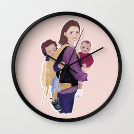 Natural mom 2 kids // toddler in carrier holding baby // painted portrait of babywearing mother Wall Clock