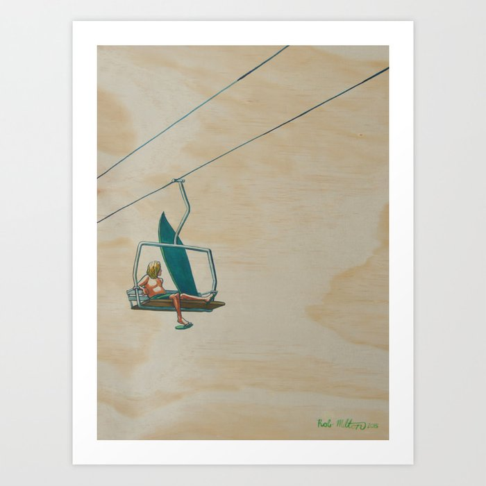 The Lost Surfer; A Lift Up The Hill Art Print