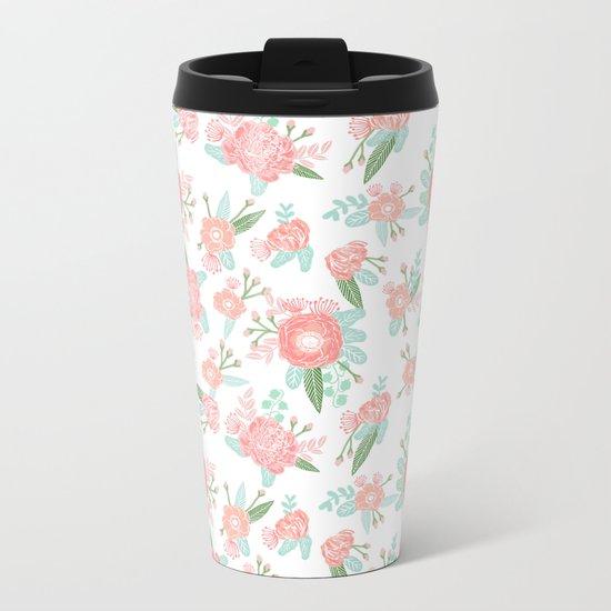 Florals floral pattern minimal basic trendy bouquet spring summer nursery decor Metal Travel Mug