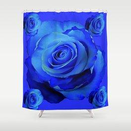 BLUE ROSES & BLUE  MODERN ART CONCEPT Shower Curtain