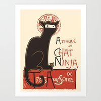 cat coquillette Art Prints featuring A French Ninja Cat (Le Chat Ninja) by Kyle Walters