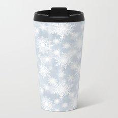 Snowflakes . White Lacy snowflakes on a light grey Metal Travel Mug