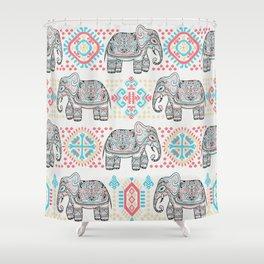 Elephant Parade,  Boho Pattern Shower Curtain
