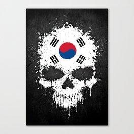 Flag of South Korea on a Chaotic Splatter Skull Canvas Print